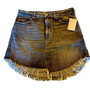 Free People Skirt Bailey Fray Hem Denim Mini 30
